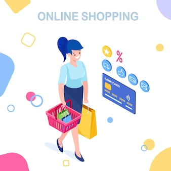 Buy in retail shop by internet with isometric woman with shopping bag