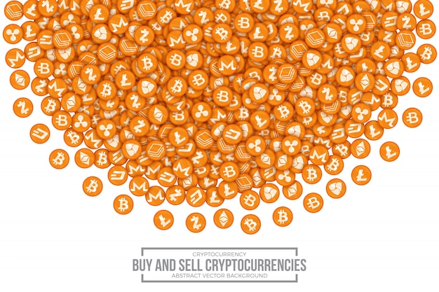 Buy sell cryptocurrencies conceptual vector illustration