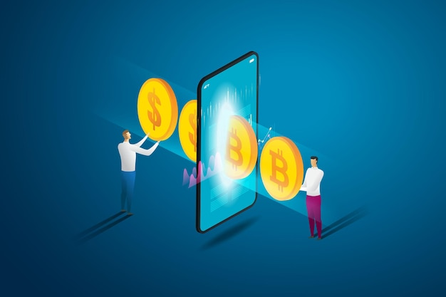 Buy and sell online cryptocurrency exchange on smart phone between two businessmen