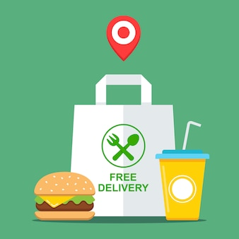 Buy takeaway fast food. food delivery free. flat illustration