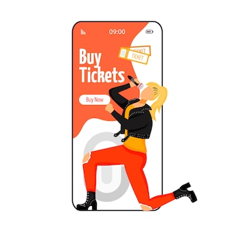 Buy tickets cartoon smartphone vector app screen.