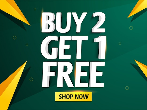 Buy two and get one free sale banner,