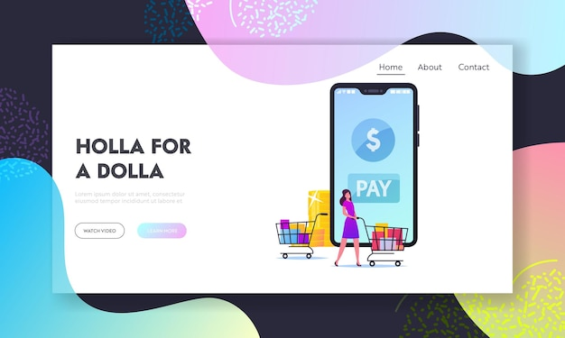 Buyer character cashless payment landing page template.