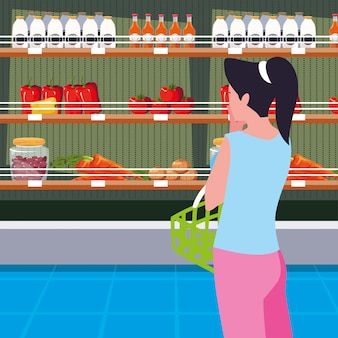 Buyer female with store wooden shelving with vegetables