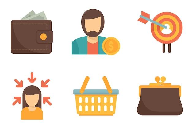 Набор иконок покупателя. плоский набор векторных иконок покупателя, изолированные на белом фоне