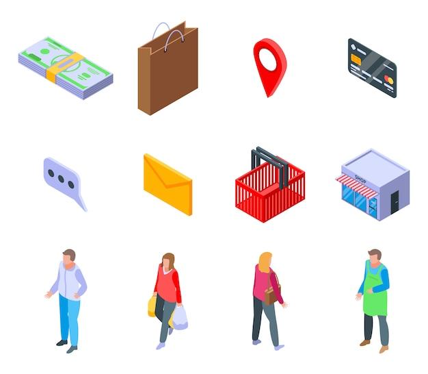 Buyer icons set, isometric style
