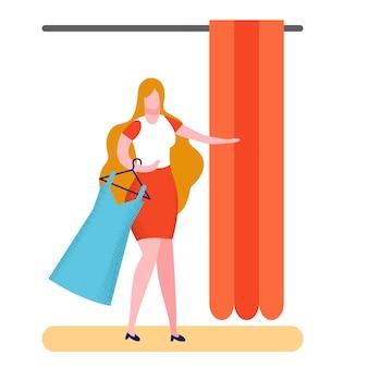 Покупатель в примерочной плоский векторные иллюстрации