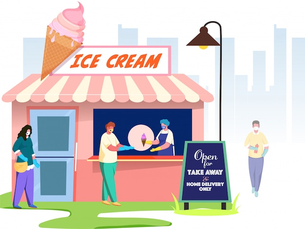 Buyer people wear protective mask with maintaining social distance front of ice cream shop, given message open for take away & home delivery only. avoid coronavirus.