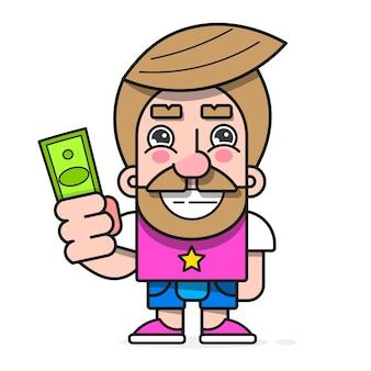 手にお金を持っているバイヤー、あなたのデザイン、グリーティングカード、バナーの準備ができて商品ベクトル文字を購入したい