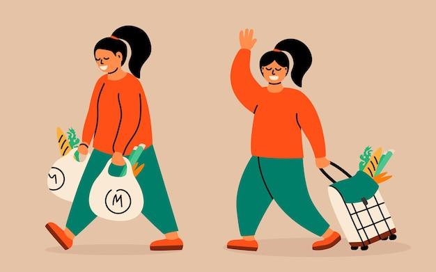 手にプラスチックまたはテキスタイルバッグを持っているバイヤーショッピングトロリーバッグを持っている女性