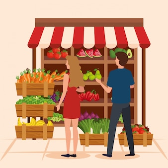 バイヤーの女と男のイラスト、ショップストア市場ショッピング商業小売購入と支払い