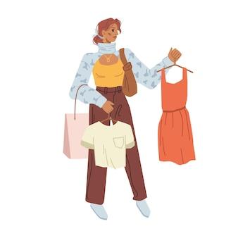 Женщина-покупатель, выбирая идеальный вид ткани на вешалках в руках, изолировала плоский мультяшный персонаж вектор