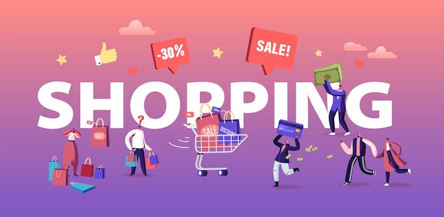 Buyers have shopping fun concept. seasonal sale with discount coupons. cheerful shopaholic people with trolley full of purchase and gifts poster banner flyer brochure. cartoon flat vector illustration