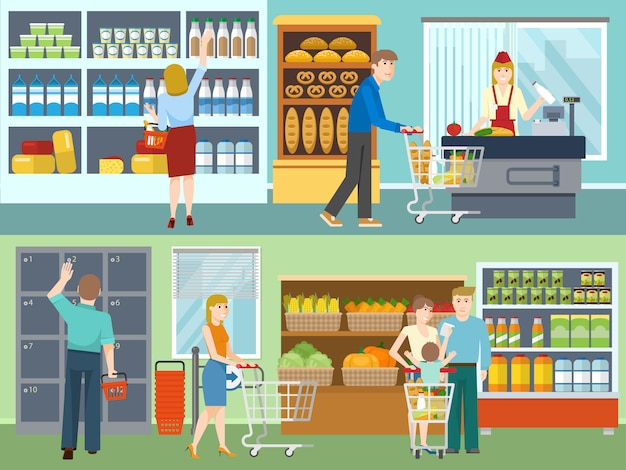 Buyers in supermarket concepts Free Vector