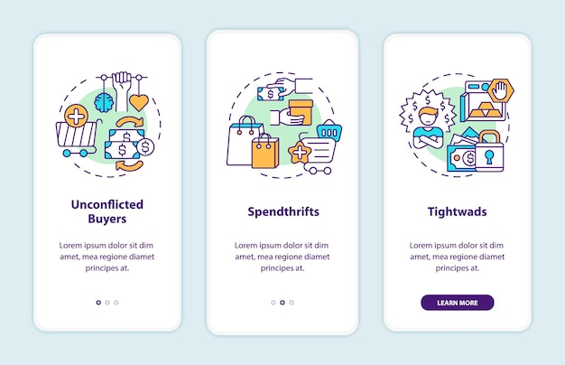 Buyers types onboarding mobile app page screen with concepts