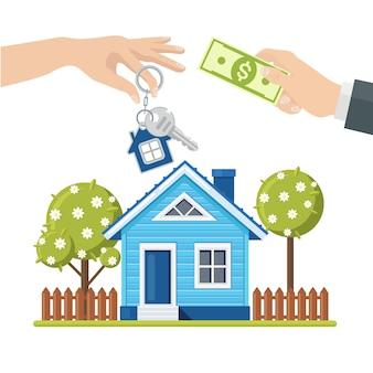 Покупка дома. недвижимость и дом для продажи концепции. рука держать деньги и ключ