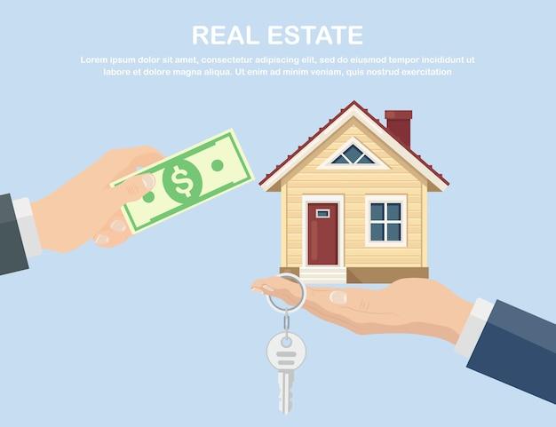 집 구입. 부동산 및 홈 판매 개념입니다. 손을 잡고 돈과 열쇠