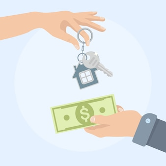 Покупка дома. недвижимость и дом для продажи концепции. иллюстрация. плоский стиль