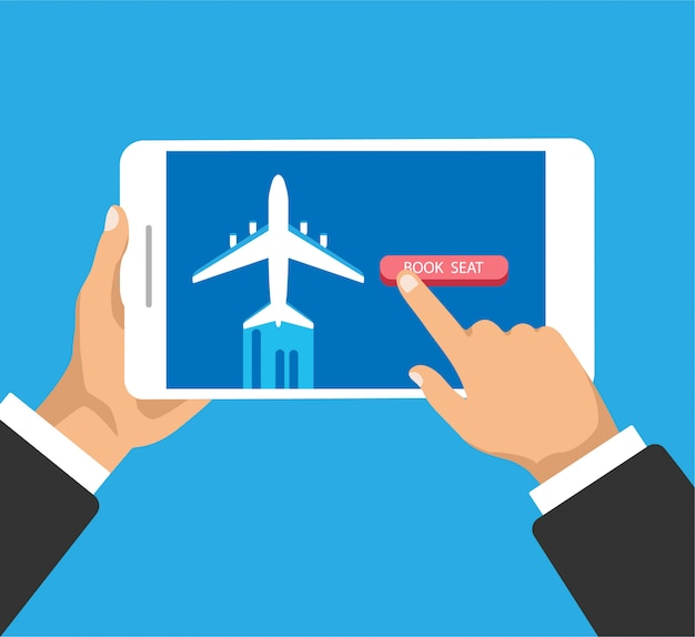 Buying airline ticket online. hand holds phone and clicks or push the button. book airplane seat.