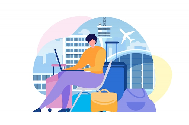 Buying airline tickets online flat vector concept