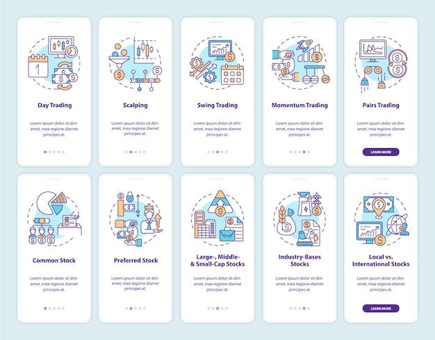 개념이 설정된 모바일 앱 페이지 화면 온 보딩 주식 매매. 거래 스타일, 연습 5 단계 그래픽 지침을 입력합니다.