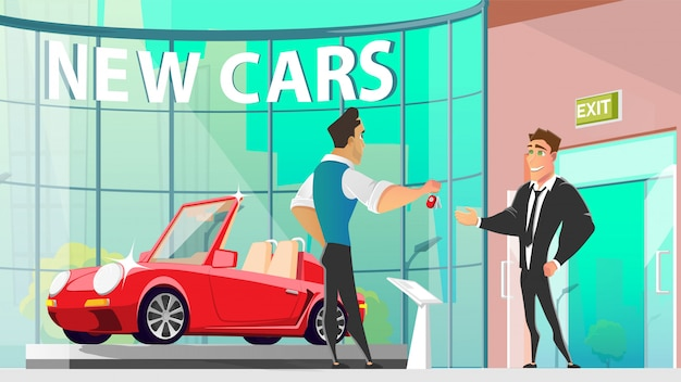 Buying car in auto dealer center cartoon