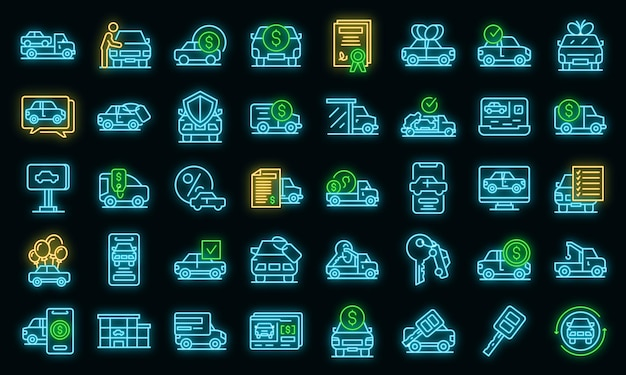 Buying car icons set. outline set of buying car vector icons neon color on black