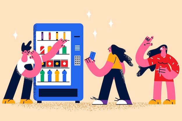 Покупка еды в концепции продуктовой машины. группа молодых людей, стоящих между продуктовым автоматом, выбирая продукты и напитки, готовые платить с векторной иллюстрацией карты