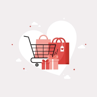 Buying gifts for valentine's day as a shopping cart with gifts and bags