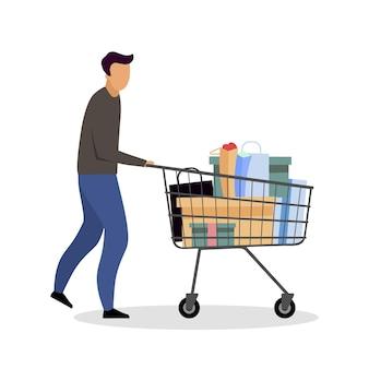 Buying goods at hypermarket flat