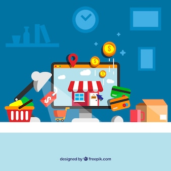 Buying at home with flat design