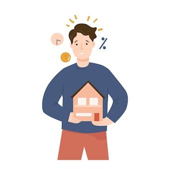 住宅ローンで家を購入し、銀行にクレジットを支払う。住宅ローン、家賃、住宅ローンのコンセプト。