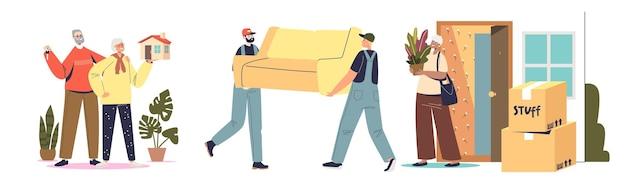 Покупка дома и концепция переезда для множества мультфильмов владельцев домов и работников службы переезда, грузчиков и курьеров, несущих коробки и кушетки. плоские векторные иллюстрации