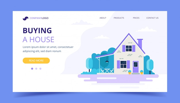 Buying a house landing page template.