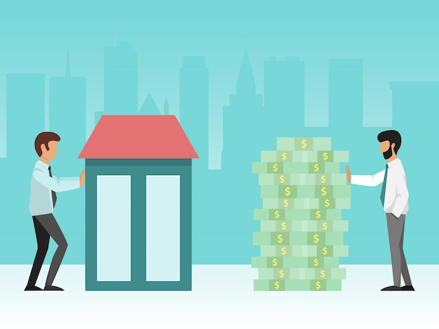 Buying house. real estate manager and buyer standing near building and stack of cash