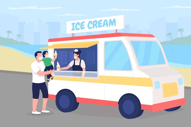 Buying ice cream on beach during pandemic flat color illustration