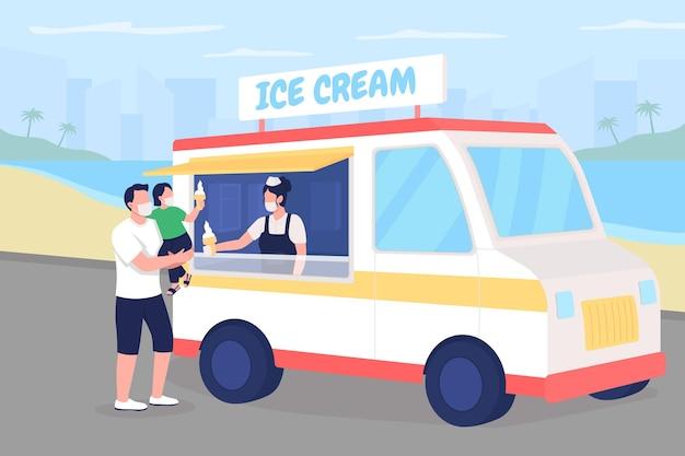 Покупка мороженого на пляже во время пандемии плоской цветной иллюстрации