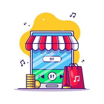 모바일 스마트 폰 만화 일러스트에서 음악 구매