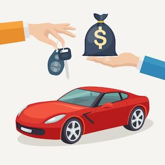 Покупка новой машины. рука держит автомобильный ключ и денежный мешок