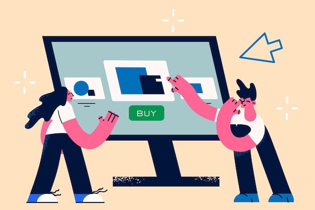 购买网上和电子支付概念。站立与购物车网上传染媒介例证的巨大的膝上型计算机屏幕的年轻微笑的妇女和人漫画人物