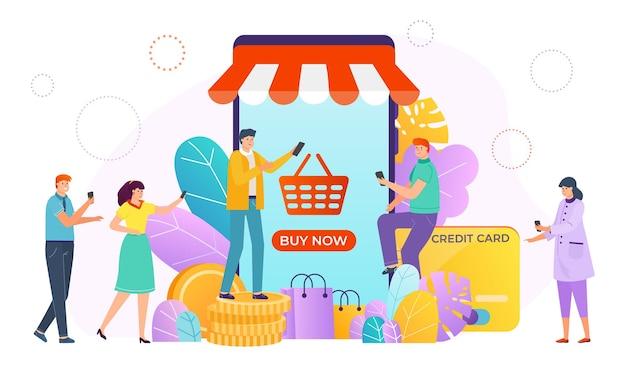 Покупка онлайн через интернет-магазин Premium векторы
