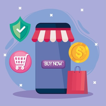 Buying online with smartphone