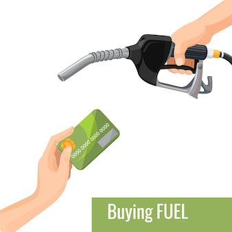 Buying petrol concept emblem