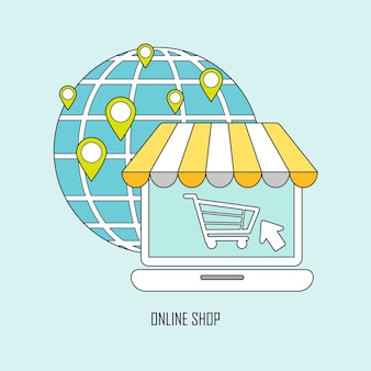 Buying product via online shop ideas in thin line style