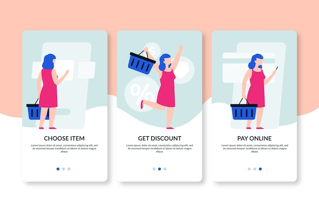 Buying products online onboarding app screens