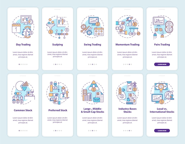 Buying and selling stocks onboarding mobile app page screen with concepts set. trading style, type walkthrough 5 steps graphic instructions.