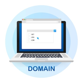 Buying web domains concept