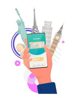 앱을 통해 티켓을 구매합니다. 온라인 티켓 구매. 전화 클로즈업으로 손입니다. 외딴. 벡터.