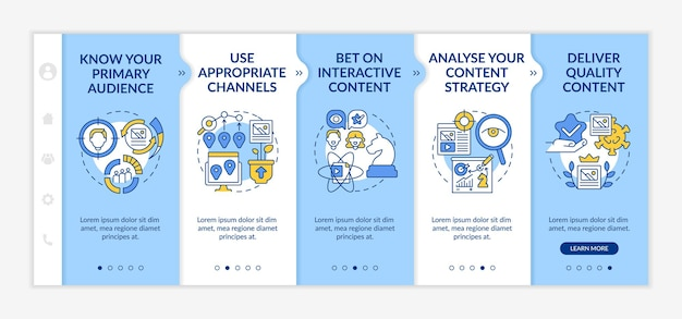 Buzzworthy content techniques onboarding vector template. responsive mobile website with icons. web page walkthrough 5 step screens. know primary audience color concept with linear illustrations