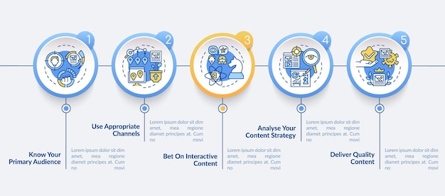 Buzzworthy content techniques vector infographic template. targeting presentation outline design elements. data visualization with 5 steps. process timeline info chart. workflow layout with line icons